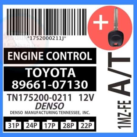 89661-07130 ECU & Programmed Master Key for Toyota Avalon | OEM Denso