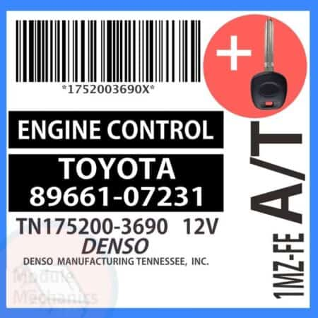 89661-07231 ECU & Programmed Master Key for Toyota Avalon   OEM Denso