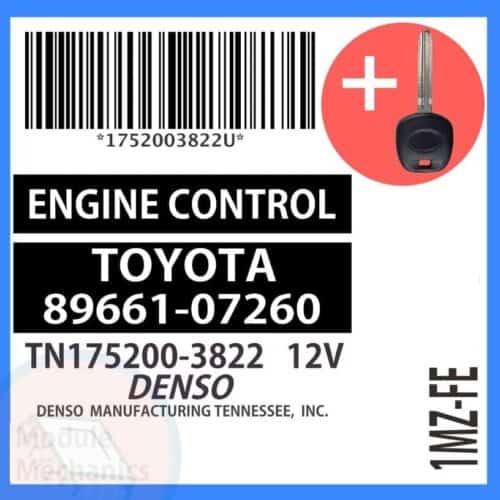 89661-07260 ECU & Programmed Master Key for Toyota Avalon   OEM Denso