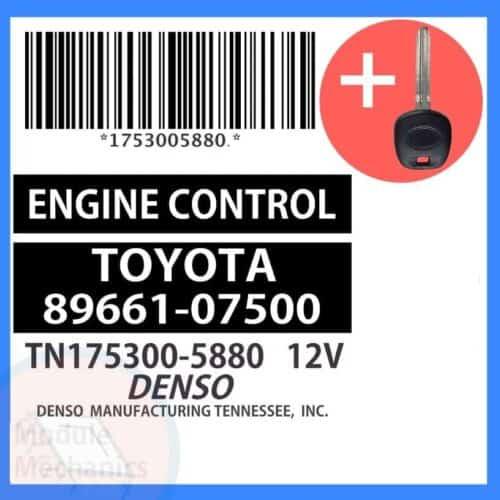 89661-07500 ECU & Programmed Master Key for Toyota Avalon   OEM Denso
