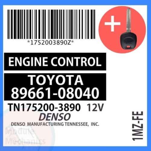 89661-08040 ECU & Programmed Master Key for Toyota Sienna | OEM Denso