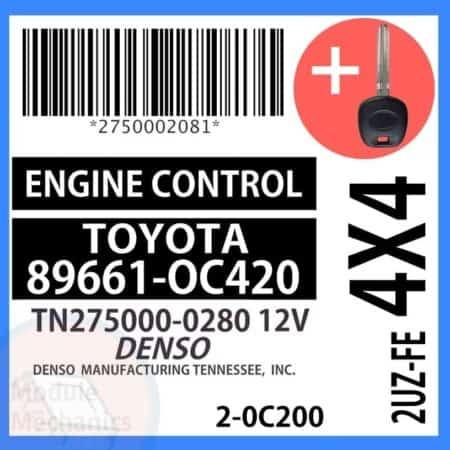 89661-0C420 ECU W/ Programmed Master Key Toyota Sequoia