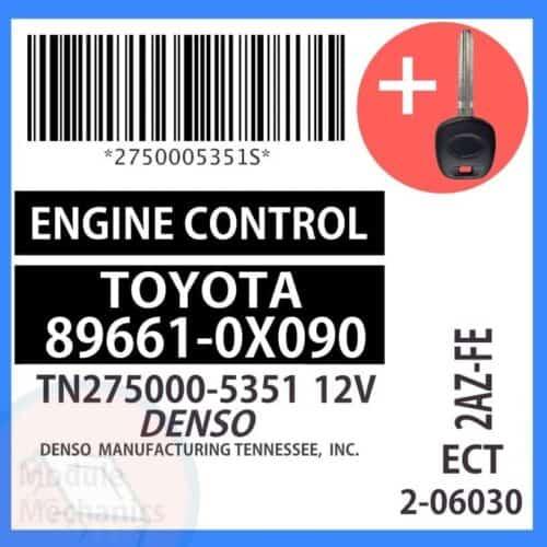 89661-0X090 ECU & Programmed Master Key for Toyota Solara   OEM Denso