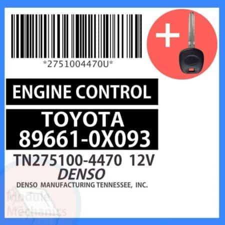 89661-0X093 ECU & Programmed Master Key for Toyota Solara   OEM Denso