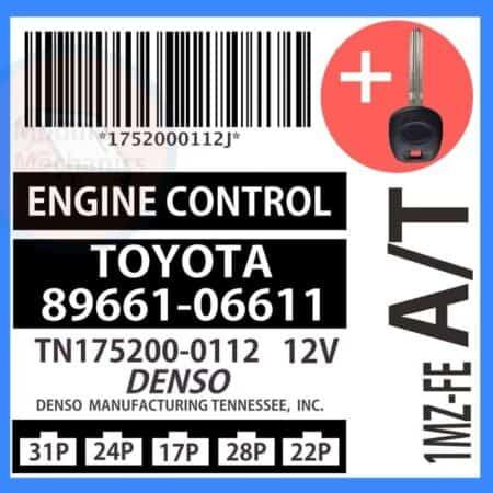 89661-06611 ECU & Programmed Master Key for Toyota Camry   OEM Denso
