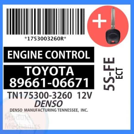 89661-06671 ECU & Programmed Master Key for Toyota Camry   OEM Denso