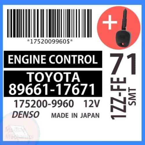 89661-17671 ECU & Programmed Master Key for Toyota MR2   OEM Denso