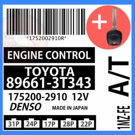89661-3T343 ECU & Programmed Master Key for Toyota Camry   OEM Denso