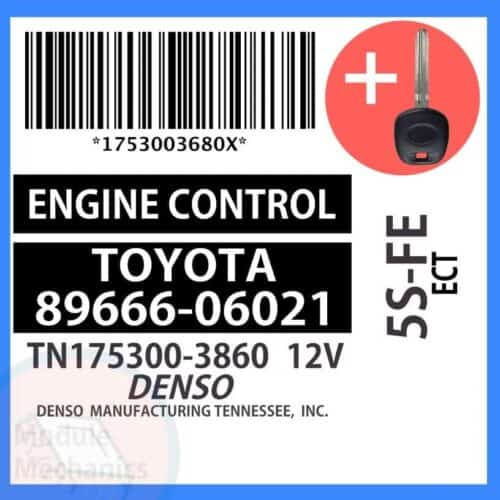 89666-06021 ECU & Programmed Master Key for Toyota Camry   OEM Denso