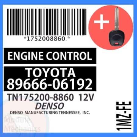 89666-06192 ECU & Programmed Master Key for Toyota Camry | OEM Denso