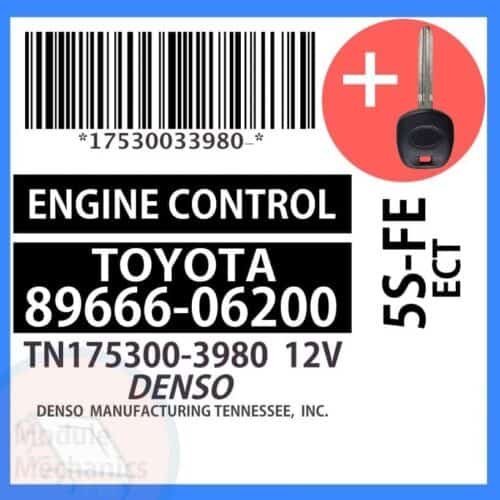 89666-06200 ECU & Programmed Master Key for Toyota Camry   OEM Denso