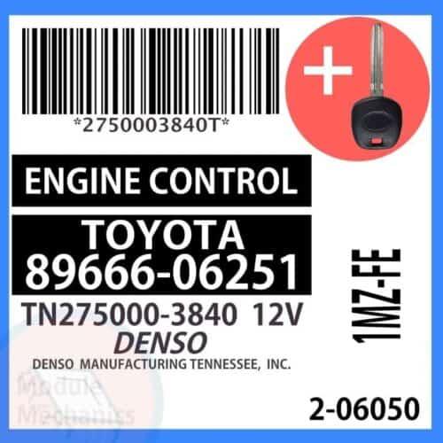 89666-06251 ECU & Programmed Master Key for Toyota Camry   OEM Denso