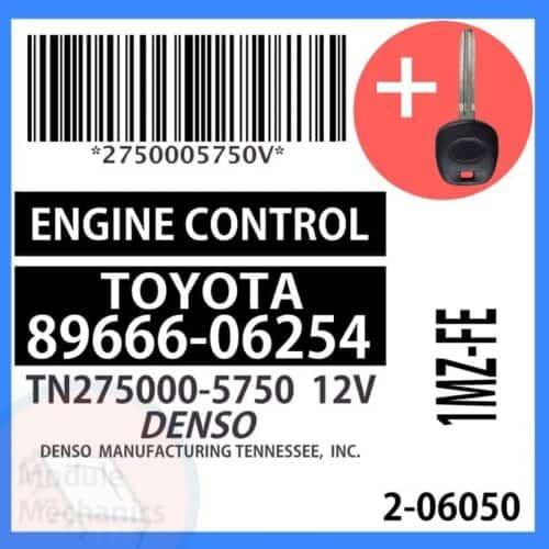 89666-06254 ECU & Programmed Master Key for Toyota Camry | OEM Denso