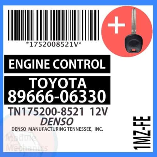 89666-06330 ECU & Programmed Master Key for Toyota Camry | OEM Denso