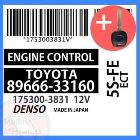 89666-33160 ECU & Programmed Master Key for Toyota Camry   OEM Denso