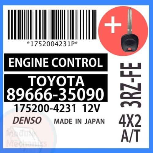 89666-35090 ECU & Programmed Master Key for Toyota 4Runner   OEM Denso