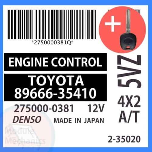89666-35410 ECU & Programmed Master Key for Toyota 4Runner | OEM Denso