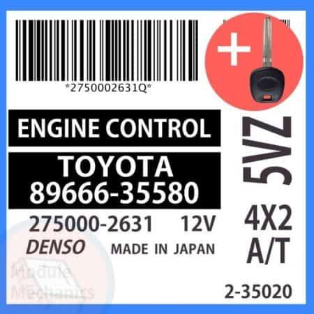 89666-35580 ECU & Programmed Master Key for Toyota 4Runner   OEM Denso
